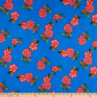 Fabric Merchants ITY Jersey Knit Floral Royal/Coral
