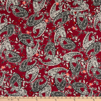Fabric Merchants ITY Jersey Knit Paisley Wine