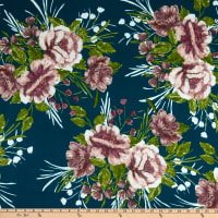 Fabric Merchants ITY Jersey Knit Tropical Floral Emerald/Lilac