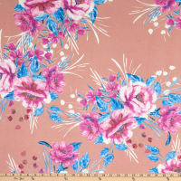 Fabric Merchants ITY Jersey Knit Tropical Floral Pink