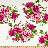Fabric Merchants ITY Jersey Knit Tropical Floral Ivory/Hot Pink