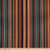 Fabric Merchants Double Brushed Poly Jersey Knit Multi Stripe Rust/Hunter