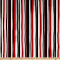 Fabric Merchants Double Brushed Poly Jersey Knit Multi Stripe Black/Red/Ivory