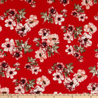Fabric Merchants Double Brushed Poly Jersey Knit Floral Garden Red/Mauve