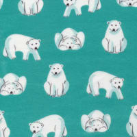 Cloud9 Organic Flannel Northerly Polar Bears Dark Turquoise