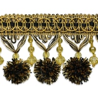 20 Yards Zoe Ball & Bead Tassel Fringe Black/Gold