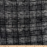 Telio Cascade Poly Spandex Stretch Knit Plaid Print Ecru Black