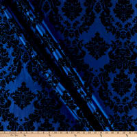 Flocked Damask Taffeta Royal/Black