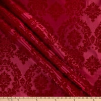 Flocked Damask Taffeta Red/Red