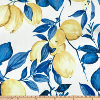 Digital Pucker Lemon Print Basketweave Indigo