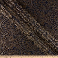 Damask Travesias Metallic Chenille Jacquard Navy