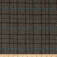 Brown and Maroon Colours Faux Wool Tartan Style Patterned Fabric CLEARANCE