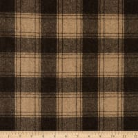 Fabric Merchants Wool Blend Woven Plaid Brown/Taupe