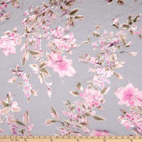Fabric Merchants Silk Chiffon Floral Ivory/Pink