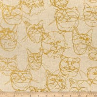 Kokka Hayu Cats Cotton/Linen Canvas Natural/Yellow