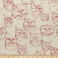 Kokka Hayu Cats Cotton/Linen Canvas Natural/Red