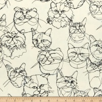 Kokka Hayu Cats Cotton/Linen Canvas Natural/Black
