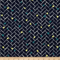 Kokka Muddy Works Bricks Sateen Navy/White