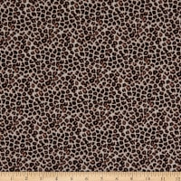 Fabtrends Rib Knit Suede Animal Leopard Mocha