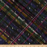 Fabtrends Foil Yoryu Chiffon Bias Plaid Royal/Violet