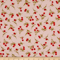 Fabtrends Washer Ghost Texture Crepe Small Floral Blush Red/Sage