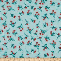 Fabtrends Washer Ghost Texture Crepe Small Floral Mint Jade/Terracotta