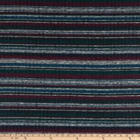 Fabtrends Melange Rib Horizontal Stripe Violet/Green/Blue