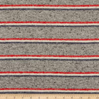 Cotton Flannel Stripes Heather Grey/Navy/Red