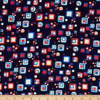 Double Brushed Knit Prints Squares Light Blue/Bright Blue/Red/Cream