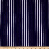 Double Brushed Knit Prints Stripes Navy/White