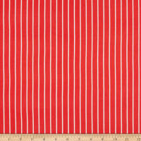 Double Brushed Knit Prints Bright Red/White