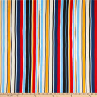 Double Brushed Knit Prints Stripes Light Blue/Navy Blue/Red/Cream/Mustard