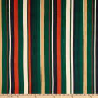 Double Brushed Knit Prints Stripes Green/Navy Blue/Orange/Cream/Tan