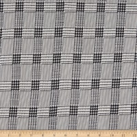 Double Brushed Stretch Knit Houndstooth Check Cream/Black