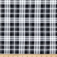 Double Brushed Knit Plaid Small Squares White/Black