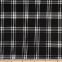 Double Brushed Knit Prints Plaid Large Squares Black/White