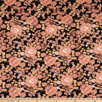 Double Brushed Knit Prints Floral Black/Peach Multi
