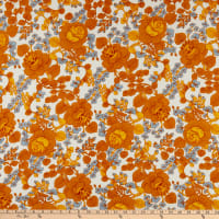 Double Brushed Knit Prints Floral White/Orange/Blue/Mustard