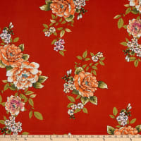 Double Brushed Knit Prints Floral Red/Orange/Green/Pink/Cream