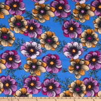 Double Brushed Knit Prints Floral Blue/Purple/Pink/Mustard/Cream