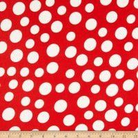 Double Brushed Knit Prints Dot Red/White