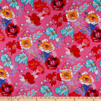 Double Brushed Knit Prints Floral Pink/Red/Light Blue/Bright Blue/Mustard