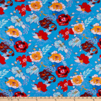 Double Brushed Knit Prints Floral Blue/Red/Light Blue/Bright Blue/Mustard