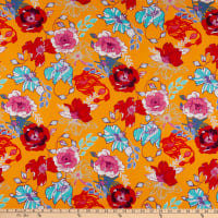 Double Brushed Knit Prints Floral Yellow/Red/Light Blue/Bright Blue/Mustard