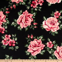 Double Brushed Knit Prints Floral Black/Pink/Green Multi