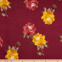 Double Brushed Knit Prints Floral Burgundy/Red/Mustard/Brown
