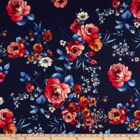Double Brushed Knit Prints Floral Navy Blue/Red/Pink/Orange/White