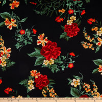 Double Brushed Knit Floral Prints Black/Green/Red Multi