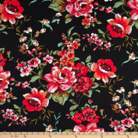 Double Brushed Knit Floral Prints Black/Red/Pink/Green Multi