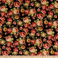 Double Brushed Knit Floral Prints Black/Yellow/Red/Green Multi